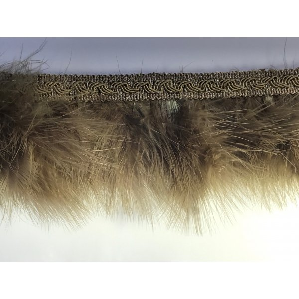 Fringe Feathers with Braid - Olive Green 8cm Price is per metre.
