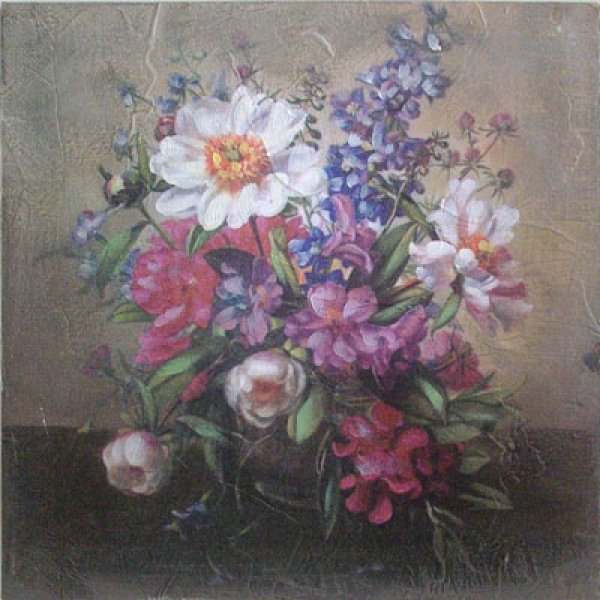 Hand finished wall art  36cm x 36cm - Vase of flowers