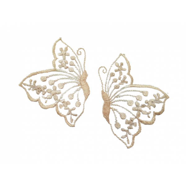 2 x Butterflies Embroidered Lace - Apricot Pink 6 x 4.5 cm