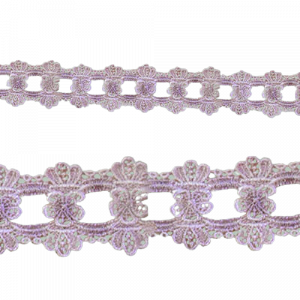 Scalloped Lace with Flower insert - Pale Pink 45mm (Price is per metre)