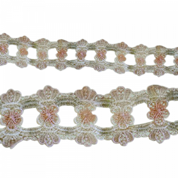 Scalloped Lace with Flower insert - Pink / Cream 45mm (Price is per metre)