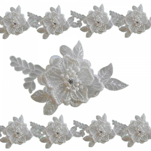 Organza Flower Lace with Diamante insert - White 8 x 11 cm (Price is per metre)
