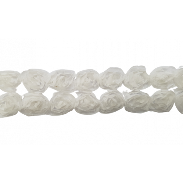 Large Rose Ruffle Trim on Tulle (Hand dyed) - White 50mm ruffle (Price is per metre)