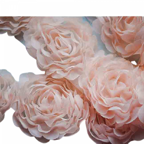 Large Rose Ruffle Trim on Tulle (Hand dyed) - Pale Pink 20mm flower (Price is per metre)