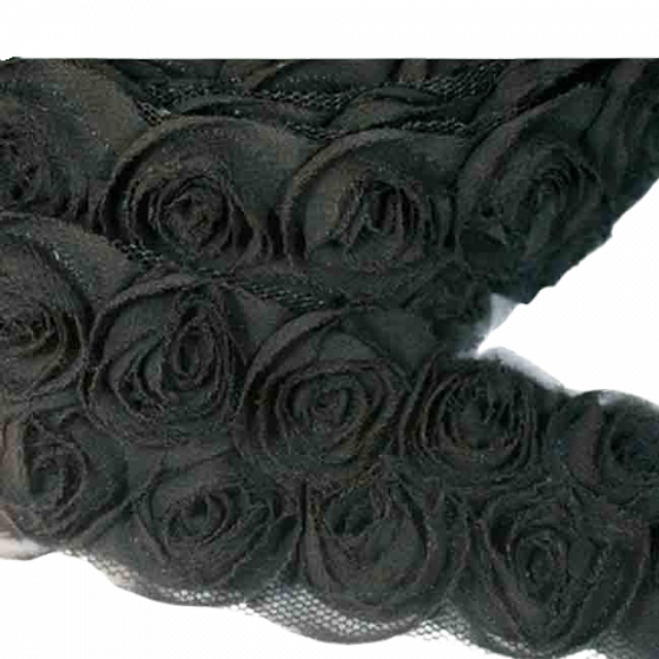 Rose Double Trim on Tulle (Hand dyed) - Black 20mm flower (Price is per metre)