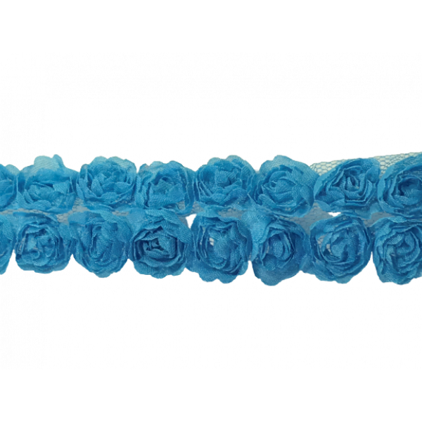 Rose Double Trim on Tulle (Hand dyed) - Blue 20mm flower (Price is per metre)