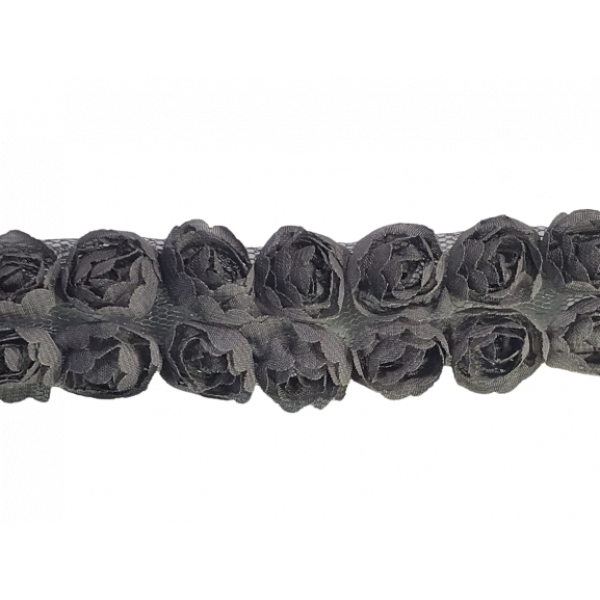 Rose Double Trim on Tulle (Hand dyed) - Silver Grey 20mm flower (Price is per metre)