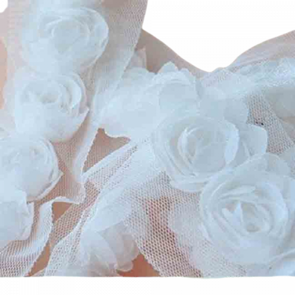 Rose Double Trim on Tulle (Hand dyed) - White 50mm flower (Price is per metre)
