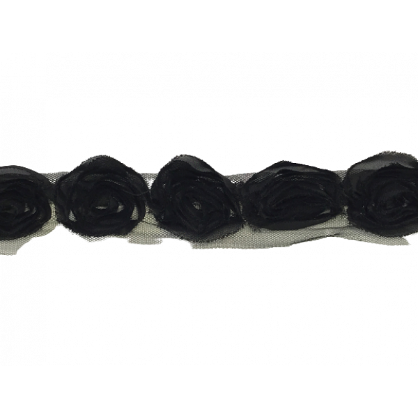 Rose Ruffle Trim on Tulle (Hand dyed) -  black 50mm flower (Price is per metre)