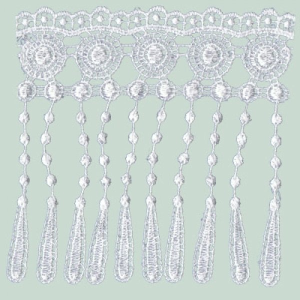 Ornate Fringe Lace (Dye yourself) - White 125mm (Price is per metre)