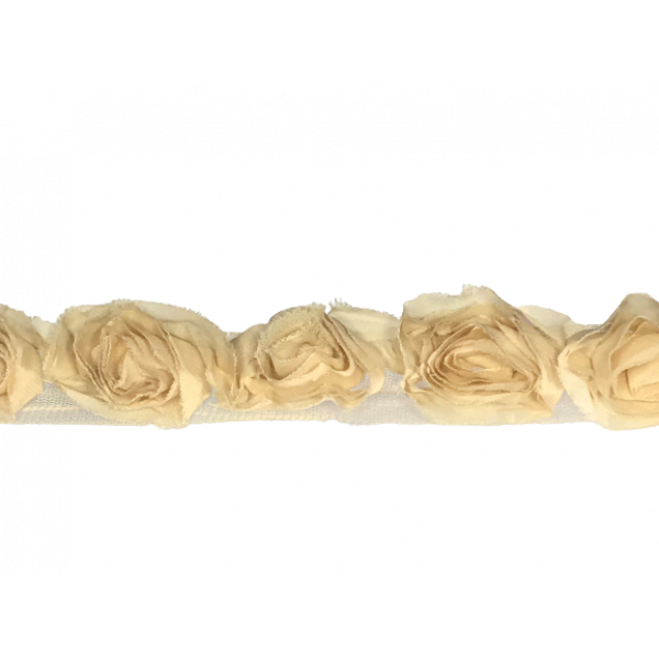 Rose Ruffle Trim on Tulle (Hand dyed) - Beige 50mm flower (Price is per metre)
