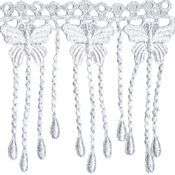 Butterfly Fringe Lace (Hand dyed) - White 140mm (Price is per metre)