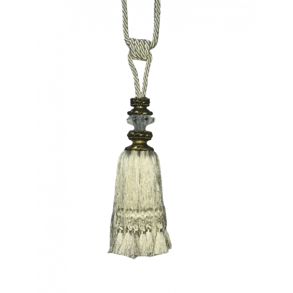 Pair Curtain Tie Back - 28cm Tassel with faceted glass top - Cream