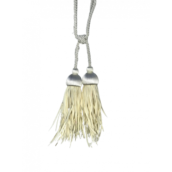 Pair Curtain Tie Back - 20cm Double Tassel with Goose Feathers - Cream