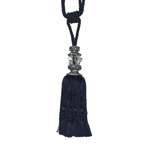 Pair Curtain Tie Back - 27cm Tassel with faceted glass top and silver capping - Navy Blue