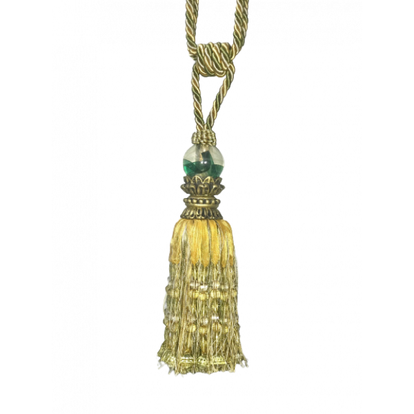 Pair Curtain Tie Back - 26cm Tassel with beads - Green / Gold