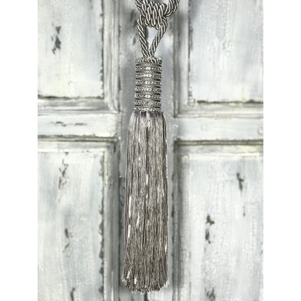 Pair Curtain Tie Back - 36cm Tassel with Diamante Encrusted Top - Silver Blue