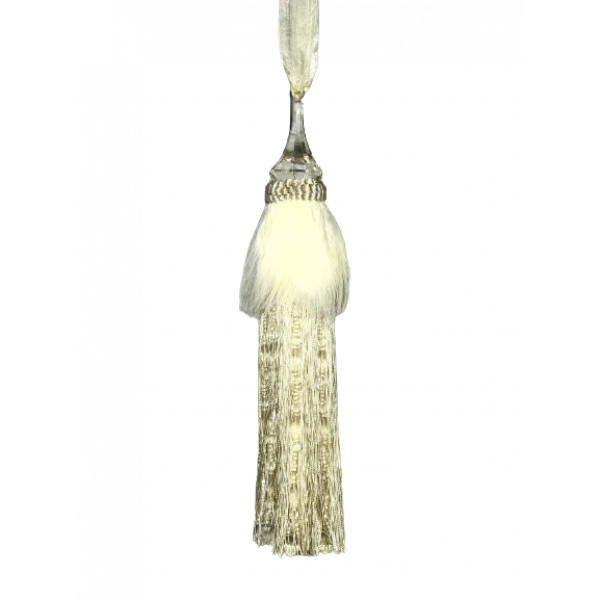 Pair Curtain Tie Back - 30cm Tassel with Feathers and Long Beaded Fringing - Cream