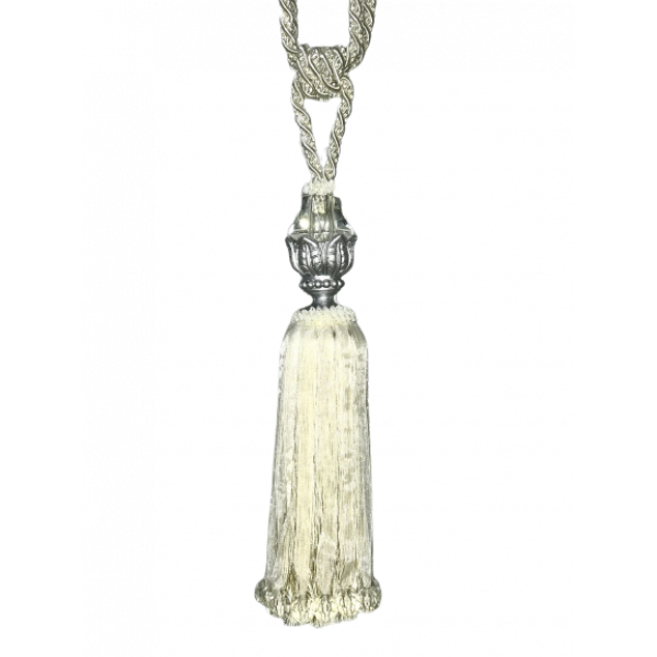 Pair Curtain Tie Back - 30cm Tassel with Glass and Silver Top and Ribbons - Cream