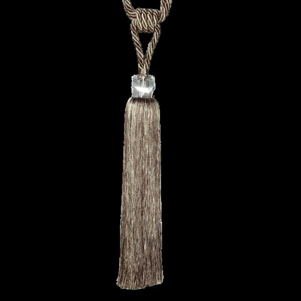 Pair Curtain Tie Back - 35cm Tassel with Fancy Glass Top - Beige
