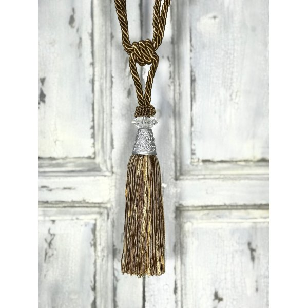 Pair Curtain Tie Back - 22cm Tassel with glass and metal top - Olive / Gold