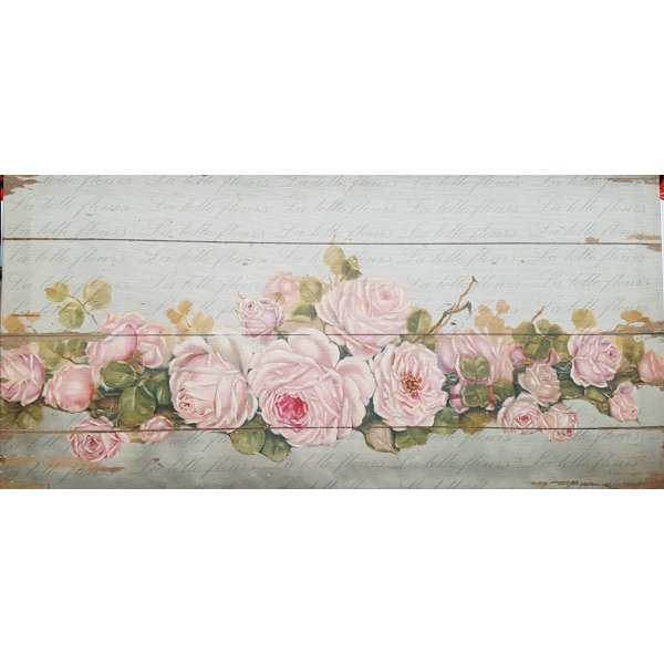 Canvas Print Garland of Pink Roses 540x270x30mm