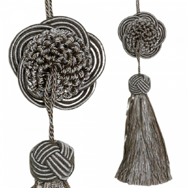 Tassel with Decorative Round Disk - Taupe 17cm