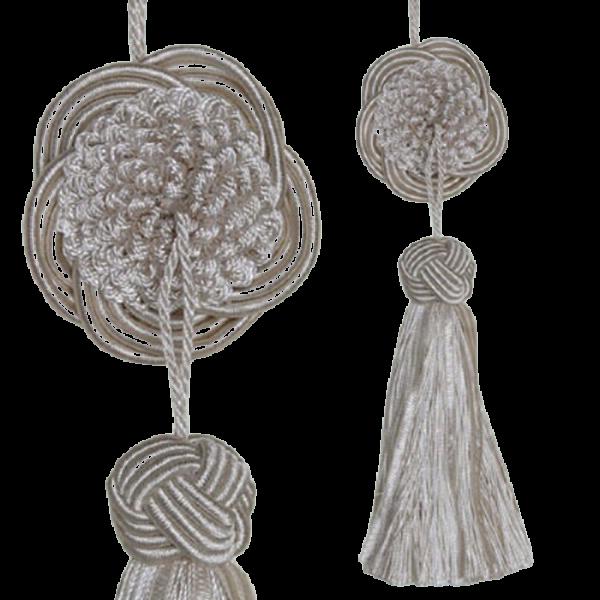 Tassel with Decorative Round Disk - Cream 17cm