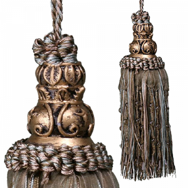 Tassel with beads - Olive 17cm