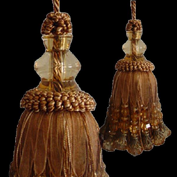 Tassel with large fancy beads - Mocha Brown 15cm