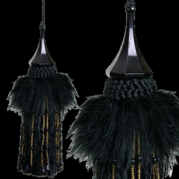 Tassel feathers with bead - Black 20cm