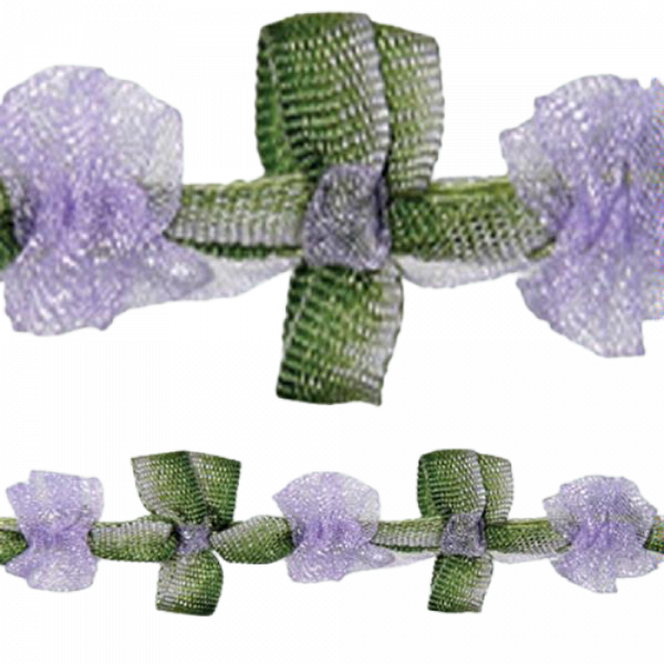 Rococo Trim Ribbon with Rainbow Flower - Mauve / Green 15mm (Price is per metre)