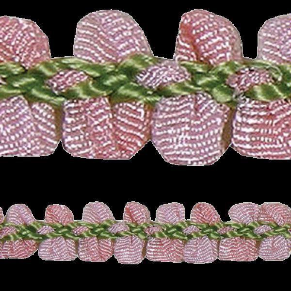 Rococo Trim Poly Ribbon - Dark Pink / Green 10mm (Price is per metre)
