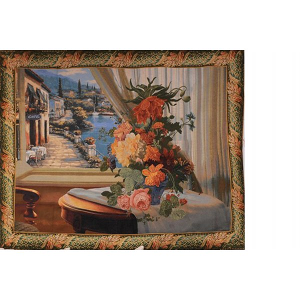 JACQUARD TAPESTRY LARGE WITH BACKING AND ROD INSERT - EUROPEAN FRAMED TUSCAN VIEW FROM WINDOW  125X157CM