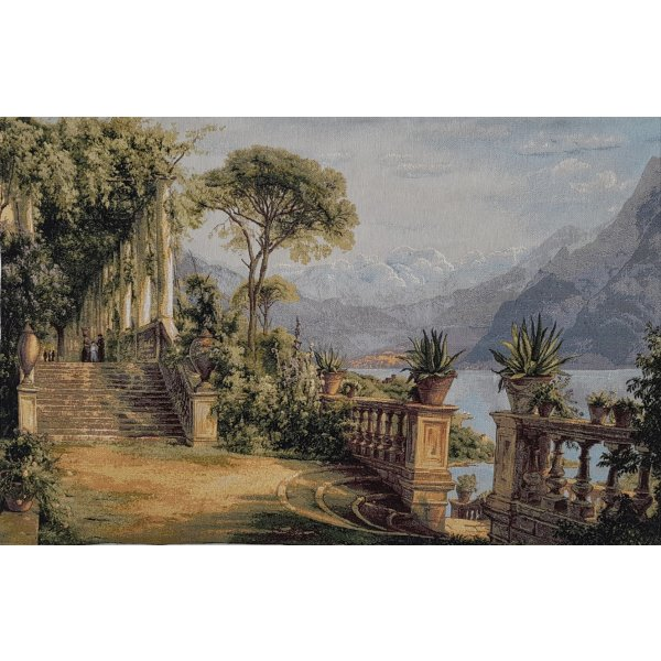 JACQUARD TAPESTRY WITH BACKING AND ROD INSERT - EUROPEAN GARDEN VISTA BY LAKE 70X100CM
