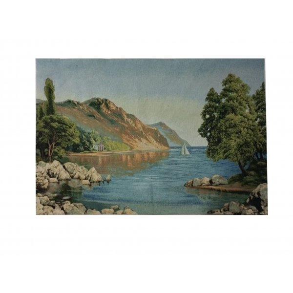 JACQUARD TAPESTRY WITH BACKING AND ROD INSERT - EUROPEAN LAKESIDE VISTA  70X110CM