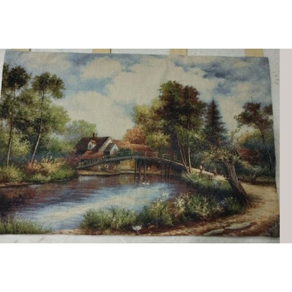 JACQUARD TAPESTRY WITH BACKING AND ROD INSERT - EUROPEAN LAKESIDE COUNTRY STAIRS WITH BOAT  70X100CM