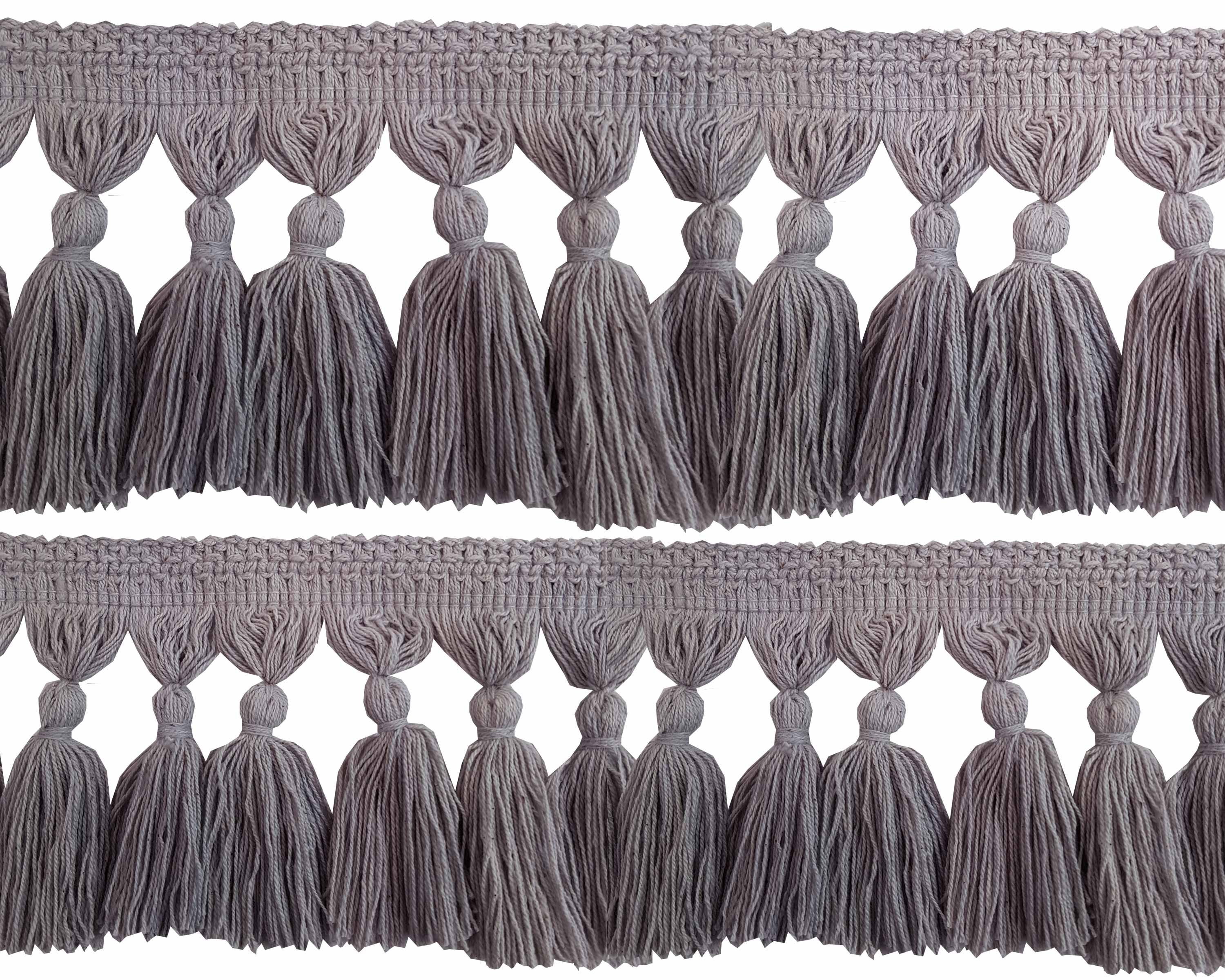 Natural Cotton Tassel Fringing - Light Grey 9.5cm long price is per metre