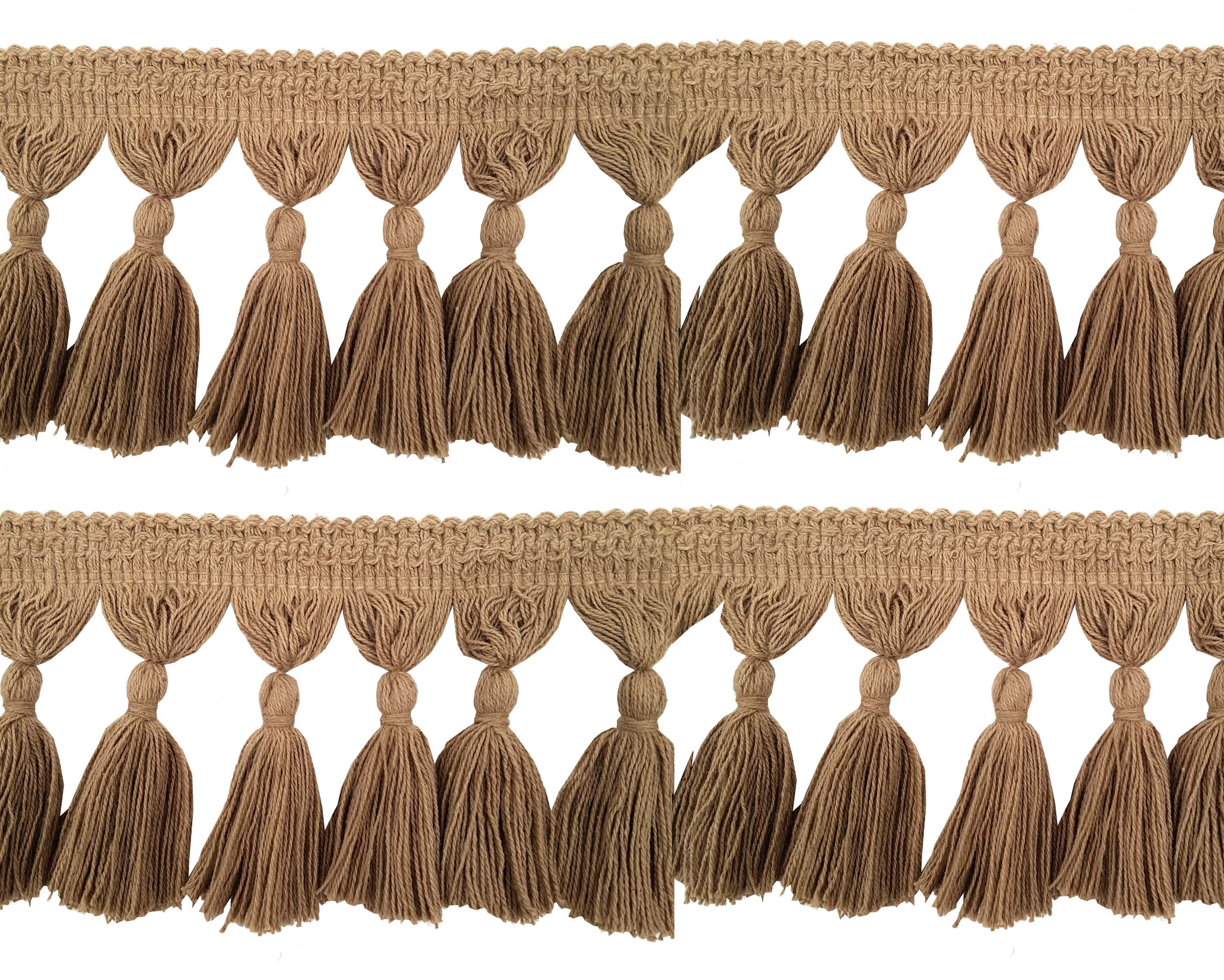 Natural Cotton Tassel Fringing - Jute 9.5cm long price is per metre