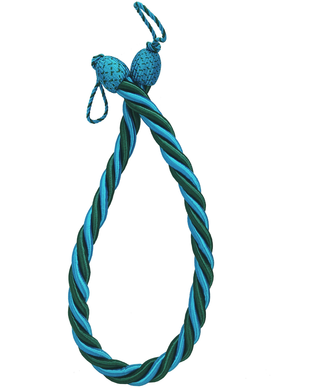PAIR Curtain Tie Back rope twist - Teal Blue 85cm