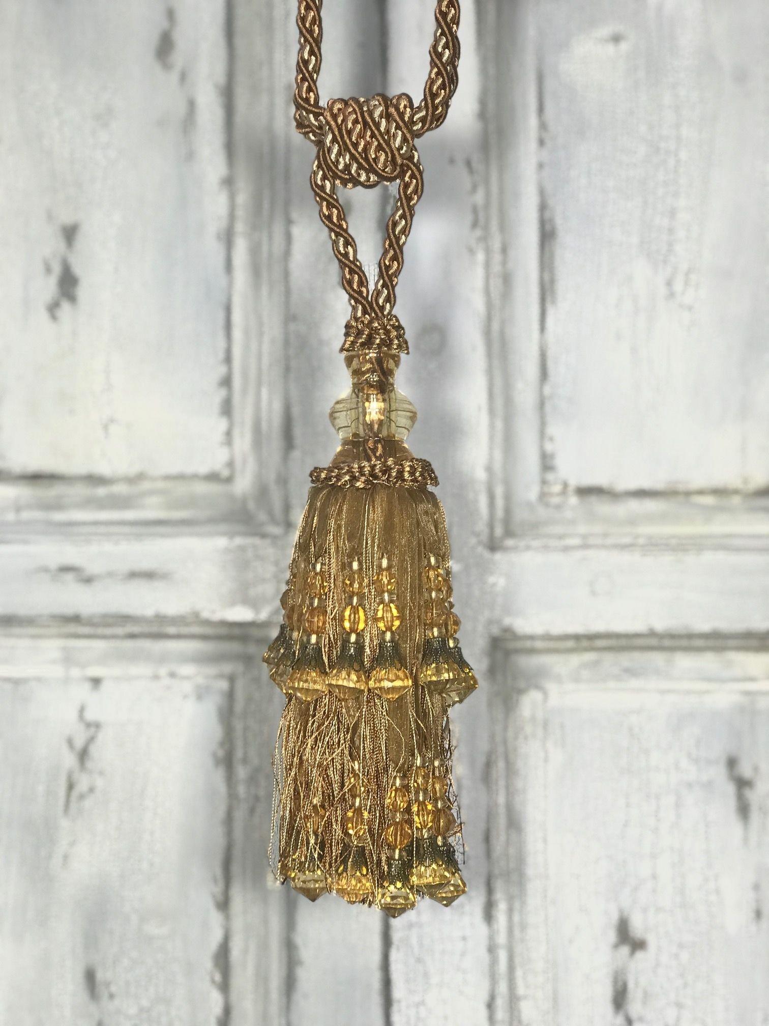 Pair Curtain Tie Back - 24cm Tassel - Antique Gold